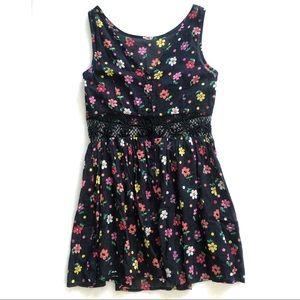 Topshop Black Floral Sleeveless Dress w/ Lace